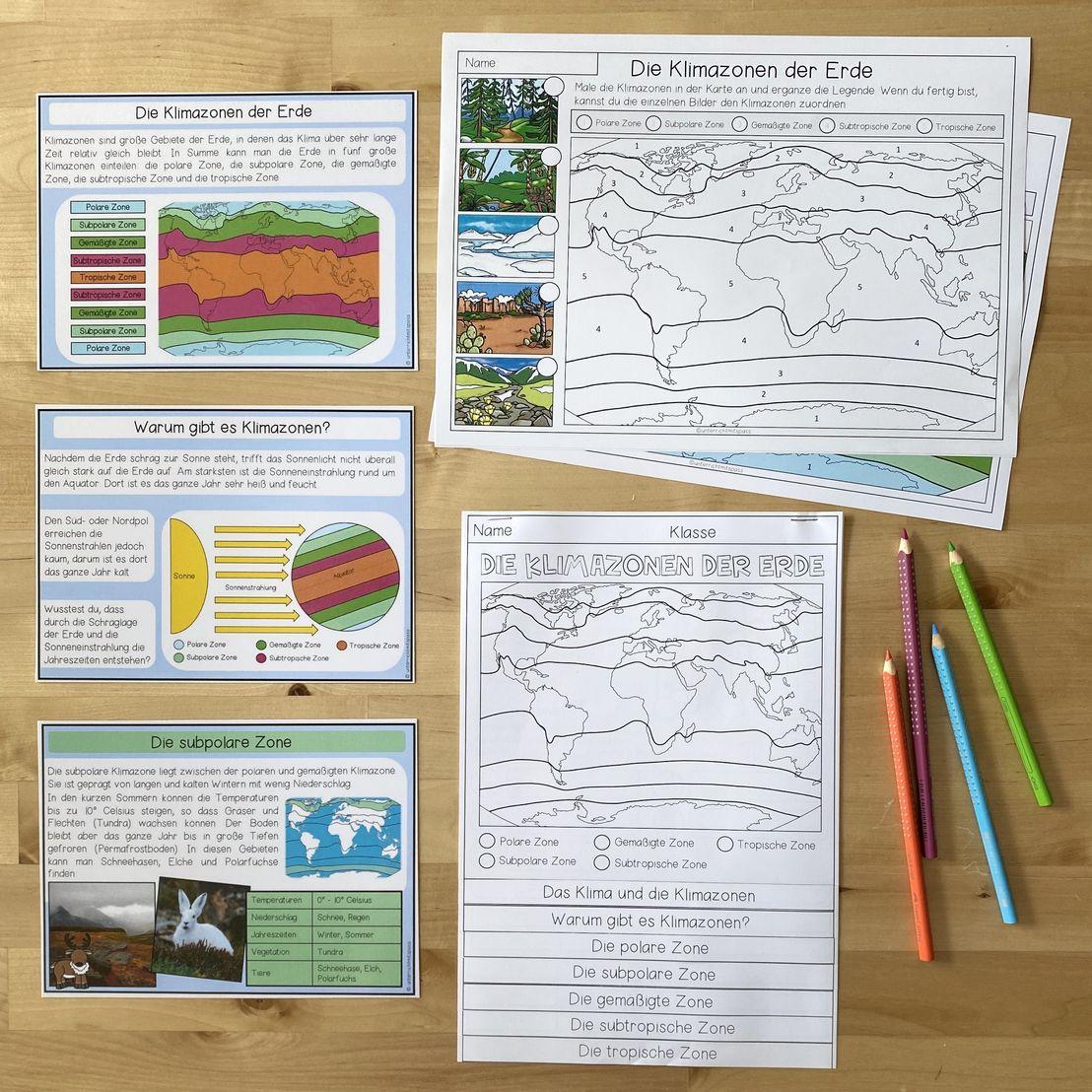 Die Klimazonen der Erde   Lernwerkstatt Materialpaket –  Unterrichtsmaterial im Fach Erdkunde