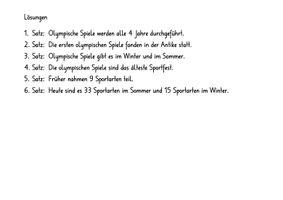 Hupfdiktat Zu Den Olympischen Spielen Unterrichtsmaterial Im Fach Deutsch
