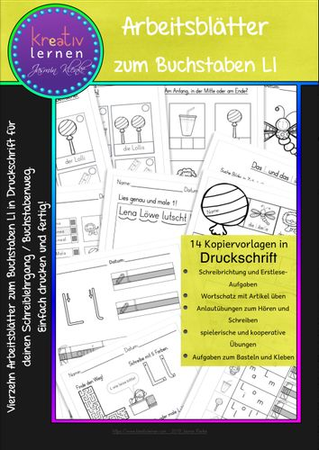 arbeitsbl tter zum buchstaben ll in druckschrift f r den schreiblehrgang unterrichtsmaterial. Black Bedroom Furniture Sets. Home Design Ideas