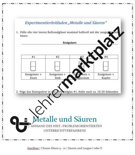 """Experiment: """"Metalle und Säuren"""" (historisch ..."""