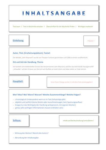 Inhaltsangabe Struktur Checkliste Formulierungsbeispiele