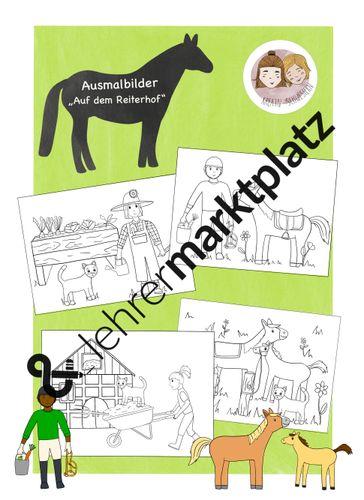 ausmalbilder pferde  reiterhof  unterrichtsmaterial im