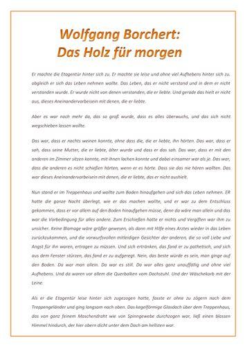 Kurzgeschichte: Wolfgang Borchert - Das Holz für morgen